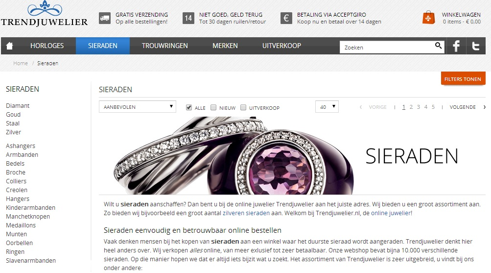Voorbeeld webshop kleuren